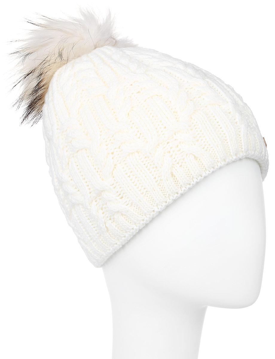 Шапка женская Baon, цвет: молочный. B346545. Размер универсальныйB346545_MILKВязаная женская шапка Baon выполнена из высококачественной комбинированной пряжи из эластичного акрила и теплой шерсти, что позволяет ей великолепно сохранять тепло и обеспечивает высокую эластичность и удобство посадки. Внутренняя сторона модели связана резинкой. Модель оформлена объемным вязаным узором и украшена большим помпоном из натурального меха, а также кожаным лейблом с логотипом бренда.