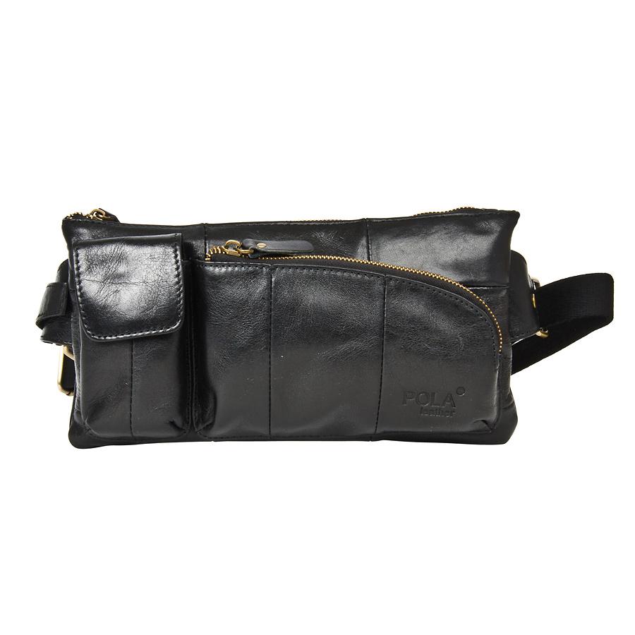 Сумка на пояс мужская Pola, цвет: черный. 02430243Кожаная мужская сумка Pola для ношения на поясе. Сумка состоит из одного отделения на молнии. Внутри - один карман на молнии и два открытых кармана. Снаружи - дополнительный карман на молнии сзади сумки и два накладных кармана спереди сумки. Пояс регулируется, максимальный объем 140 см.