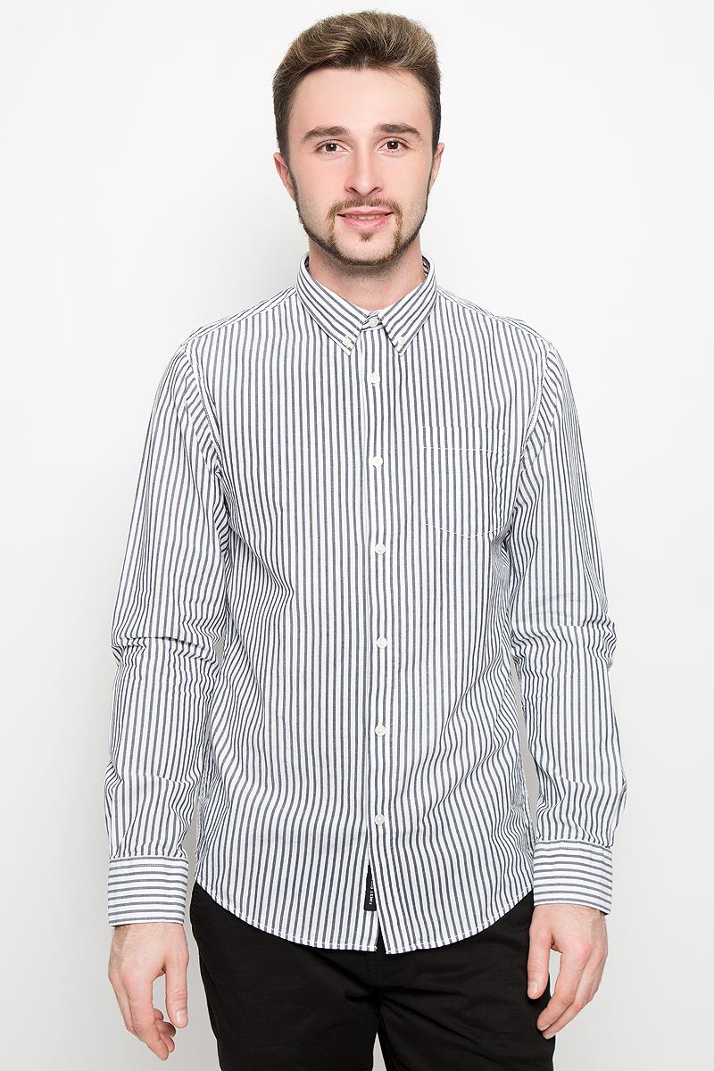 Рубашка мужская Broadway, цвет: белый, серый. 20100278. Размер M (48) мужская одежда aston случайные случайные сшитые мужские рубашки с длинными рукавами синяя сетка 170 m a14116303