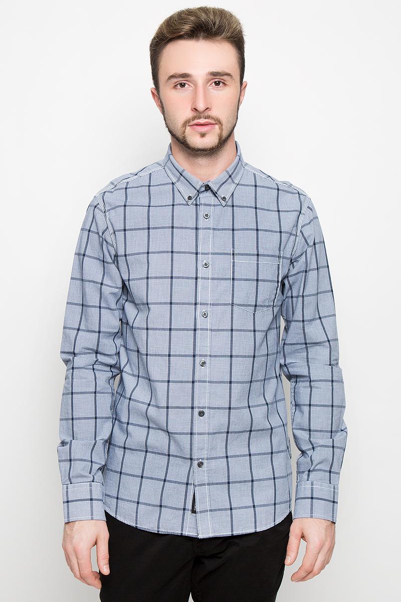 Рубашка мужская Broadway, цвет: серо-голубой. 20100278. Размер M (48) мужская одежда aston случайные случайные сшитые мужские рубашки с длинными рукавами синяя сетка 170 m a14116303