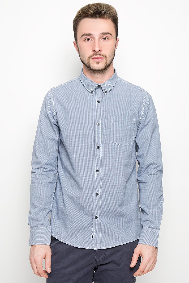 Рубашка мужская Broadway, цвет: белый, синий. 20100278. Размер M (48) мужская одежда aston случайные случайные сшитые мужские рубашки с длинными рукавами синяя сетка 170 m a14116303