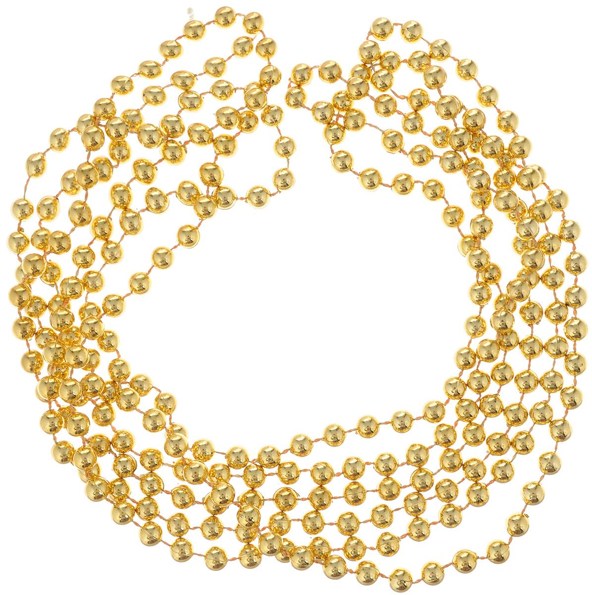 Гирлянда новогодняя Magic Time Бусы с золотыми шариками, длина 2,7 м38679Новогодняя гирлянда Magic Time Бусы с золотыми шариками,выполненная из полистирола, украсит интерьер вашегодома или офиса в преддверии Нового года. Гирляндапредставляет собой бусины на нити. Оригинальный дизайни красочное исполнение создадут праздничноенастроение.Новогодние украшения всегда несут в себе волшебство икрасоту праздника. Создайте в своем доме атмосферутепла, веселья и радости, украшая его всей семьей. Диаметр бусины: 5 мм.