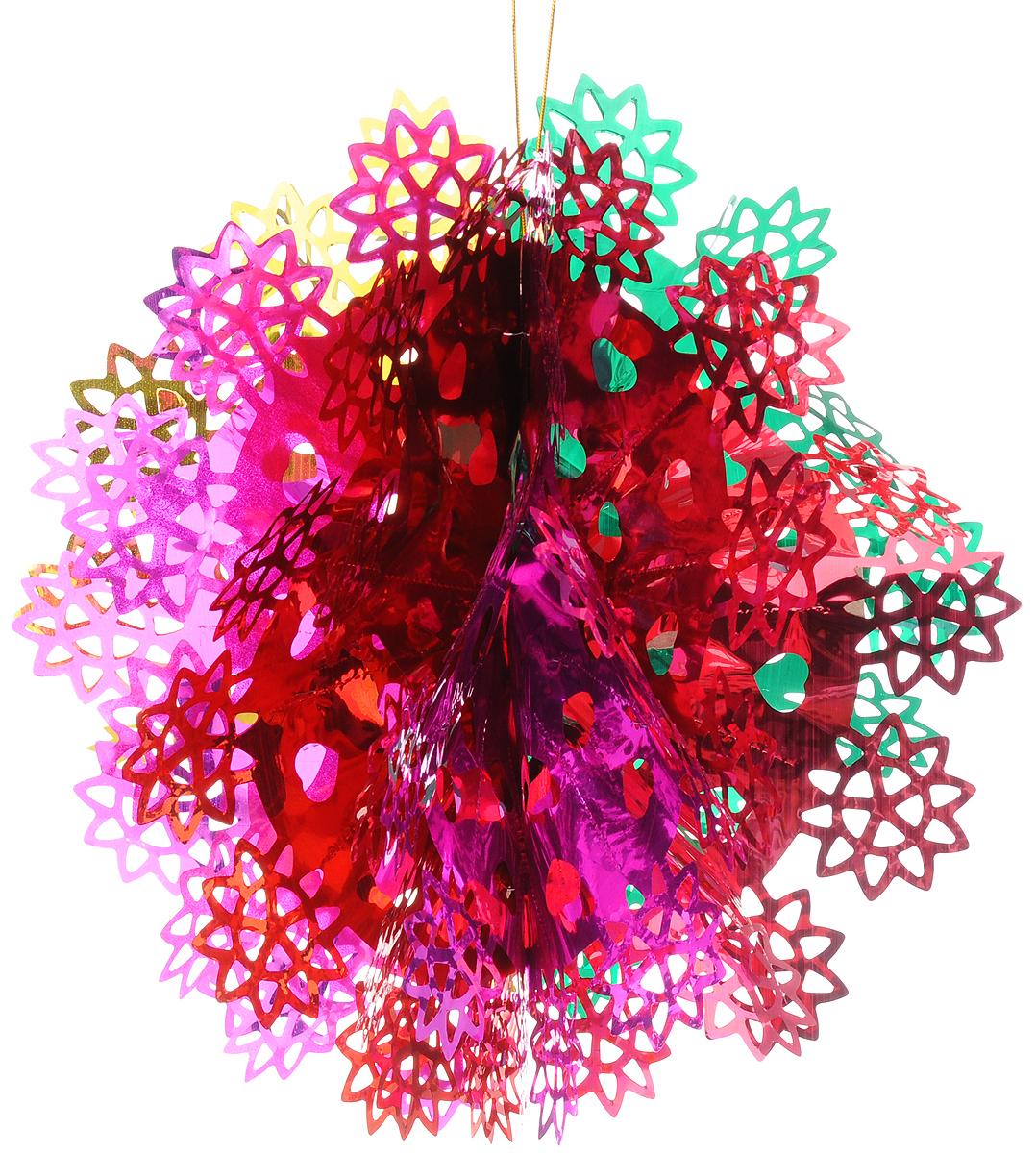 """Новогоднее подвесное украшение Magic Time """"Снежинка цветная"""" выполнено из ПЭТ (полиэтилентерефталат) в виде снежинки. С помощью специальной петельки украшение можно повесить в любом понравившемся вам месте. Игрушка удачно будет смотреться под потолком.  Новогоднее украшение Magic Time """"Снежинка цветная"""" несет в себе волшебство и красоту праздника. Создайте в своем доме атмосферу веселья и радости, с помощью игрушек, которые будут из года в год накапливать теплоту воспоминаний.  Материал: полиэтилентерефталат. Размер: 35 х 18 см."""