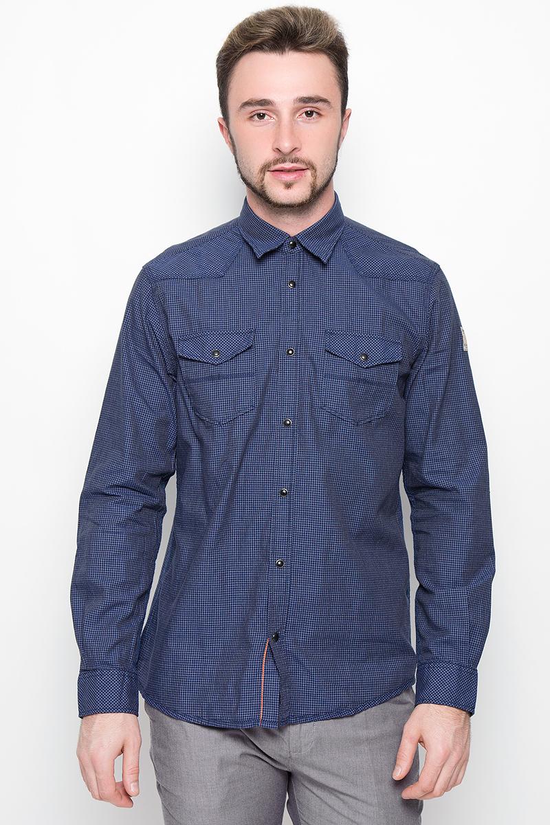 Рубашка мужская Tom Tailor, цвет: темно-синий. 2032272.00.10_6845. Размер S (46) рубашка мужская tom tailor denim цвет темно синий белый красный 2032409 00 12 4681 размер s 46