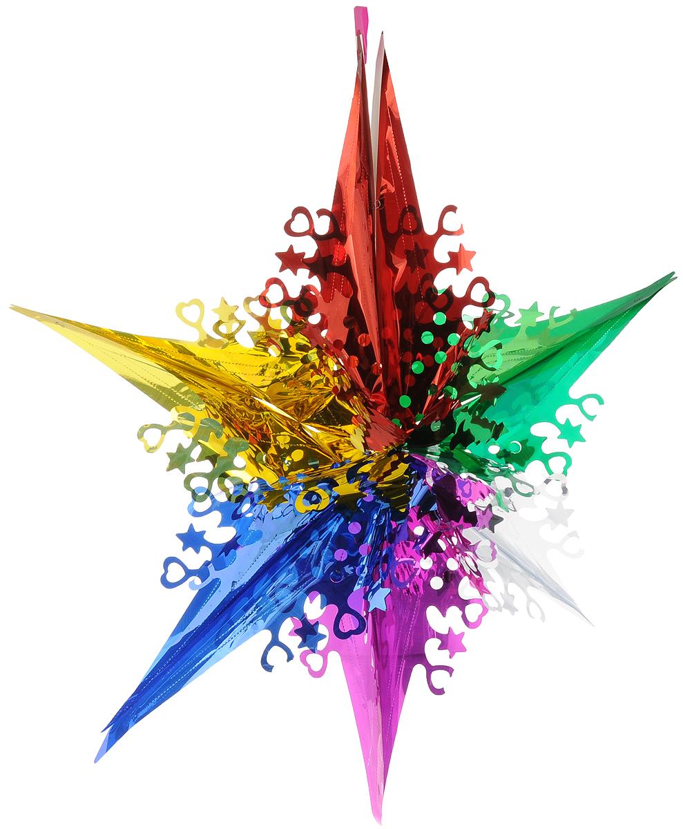 Гирлянда новогодняя Magic Time Звезда волшебная цветная, 74 х 74 x 29 см42123Новогодняя гирлянда Magic Time Звезда волшебная цветная прекрасно подойдет для декора дома и праздничной елки. Украшение выполнено из ПВХ в виде звезды. С помощью специальной петельки гирлянду можно повесить в любом понравившемся вам месте. Легко складывается и раскладывается.Новогодние украшения несут в себе волшебство и красоту праздника. Они помогут вам украсить дом к предстоящим праздникам и оживить интерьер по вашему вкусу. Создайте в доме атмосферу тепла, веселья и радости, украшая его всей семьей.Диаметр гирлянды: 74 см.