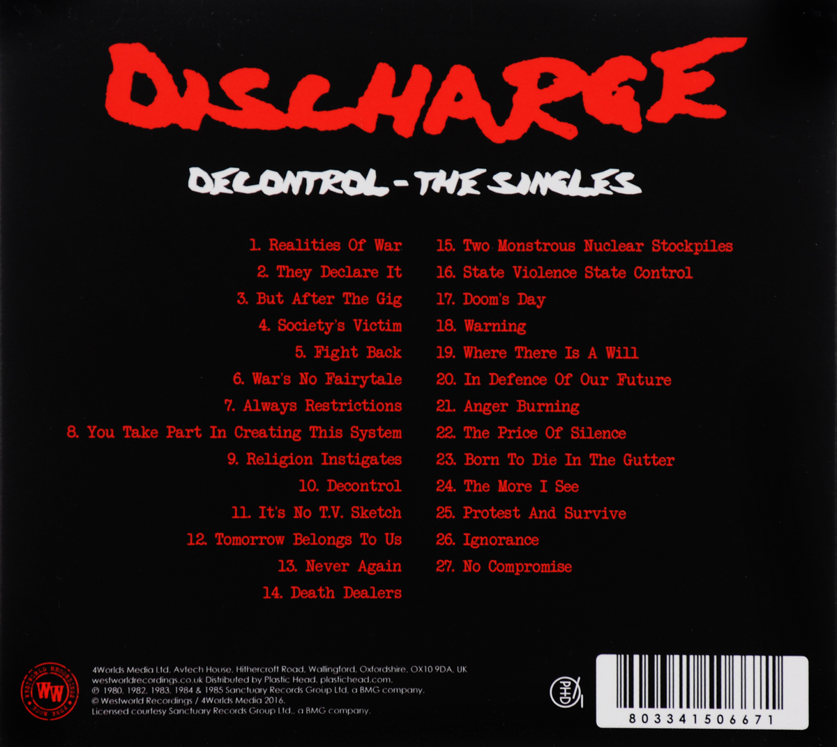 Discharge.  Decontrol - The Singles Волтэкс-инвест,Westworld Recordings