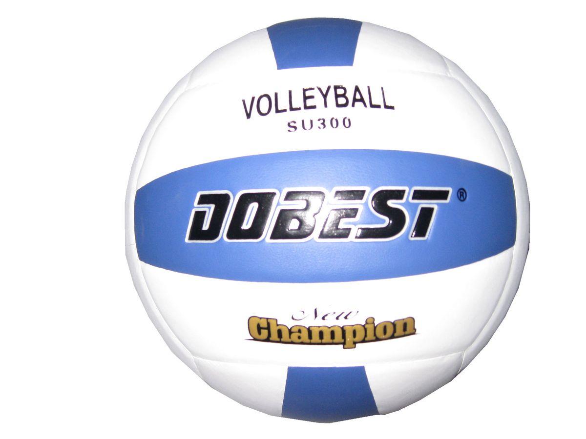 Мяч волейбольный Dobest SU300, цвет: белый, голубой. Размер 528262372Мяч клееный волейбольный DOBEST SU300 прекрасно подходит для любительских игр в зале и на улице. Он состоит из 18 панелей и 4 слоев. Изготовлен из синтетической кожи, камера выполнена из резины.