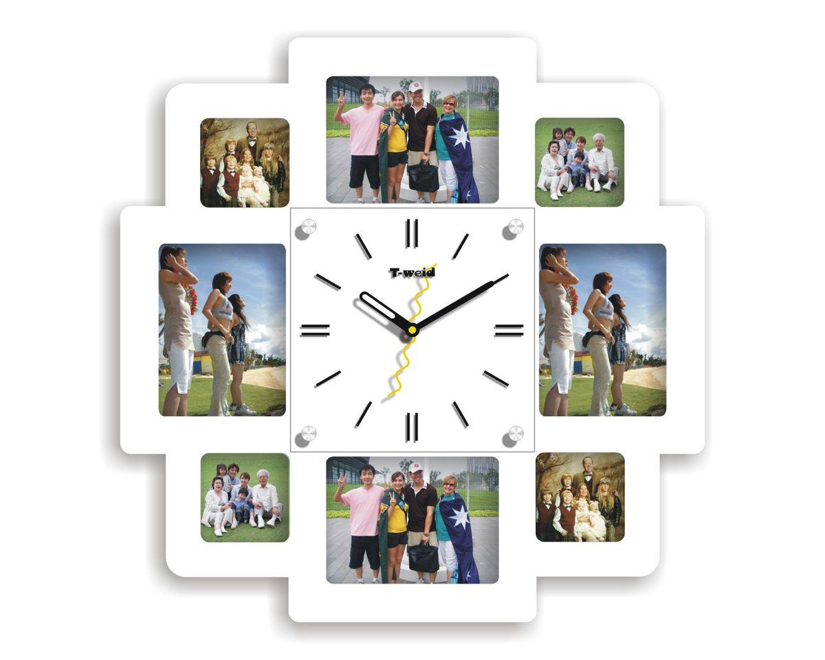 Часы настенные T-Weid, с фоторамками, цвет: белый, 40 х 40 х 5 см. M 8154 B WhiteM 8154 B WhiteНастенные кварцевые часы с фоторамками - это прекрасный предмет декора, а также универсальный подарок практически по любому поводу. Корпус часов, выполнен из дерева с белым матовым покрытием и оформлен восемью фоторамками.Циферблат часов оснащен тремя фигурными стрелками: часовой, минутной и секундной. Циферблат и стрелки защищены прочным стеклом, который крепится четырьмя металлическими крепежами к корпусу. На задней стенке часов расположена металлическая петелька для подвешивания и блок с часовым механизмом. Часы с фоторамками прекрасно впишутся в любой интерьер. В зависимости оттого, что вы поместите в рамки, будет меняться и стиль часов. Тип механизма: плавающий, бесшумный. Рекомендуется докупить батарейку типа АА (не входит в комплект). Для 8 фото: 4 фото 12 х 9 см; 4 фото 7 х 7 см.
