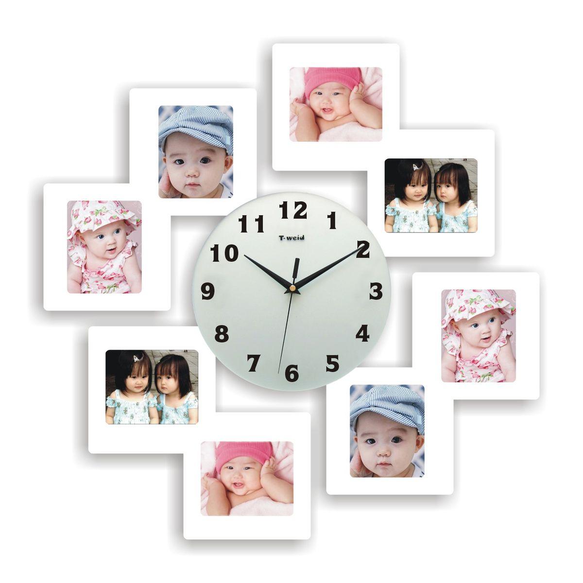 Часы настенные T-Weid, с фоторамками, цвет: белый, 55 х 55 х 5 смM 8182 B WhiteНастенные кварцевые часы с фоторамками - это прекрасный предмет декора, а также универсальный подарок практически по любому поводу. Корпус часов, выполнен из дерева с белым матовым покрытием и оформлен восемью фоторамками.Циферблат часов оснащен тремя фигурными стрелками: часовой, минутной и секундной. Цифры и метки нанесены черной краской на стекле циферблата. На задней стенке часов расположена металлическая петелька для подвешивания и блок с часовым механизмом. Часы с фоторамками прекрасно впишутся в любой интерьер. В зависимости оттого, что вы поместите в рамки, будет меняться и стиль часов. Тип механизма: плавающий, бесшумный. Рекомендуется докупить батарейку типа АА (не входит в комплект). Для 8 фото 11 х 9 см.