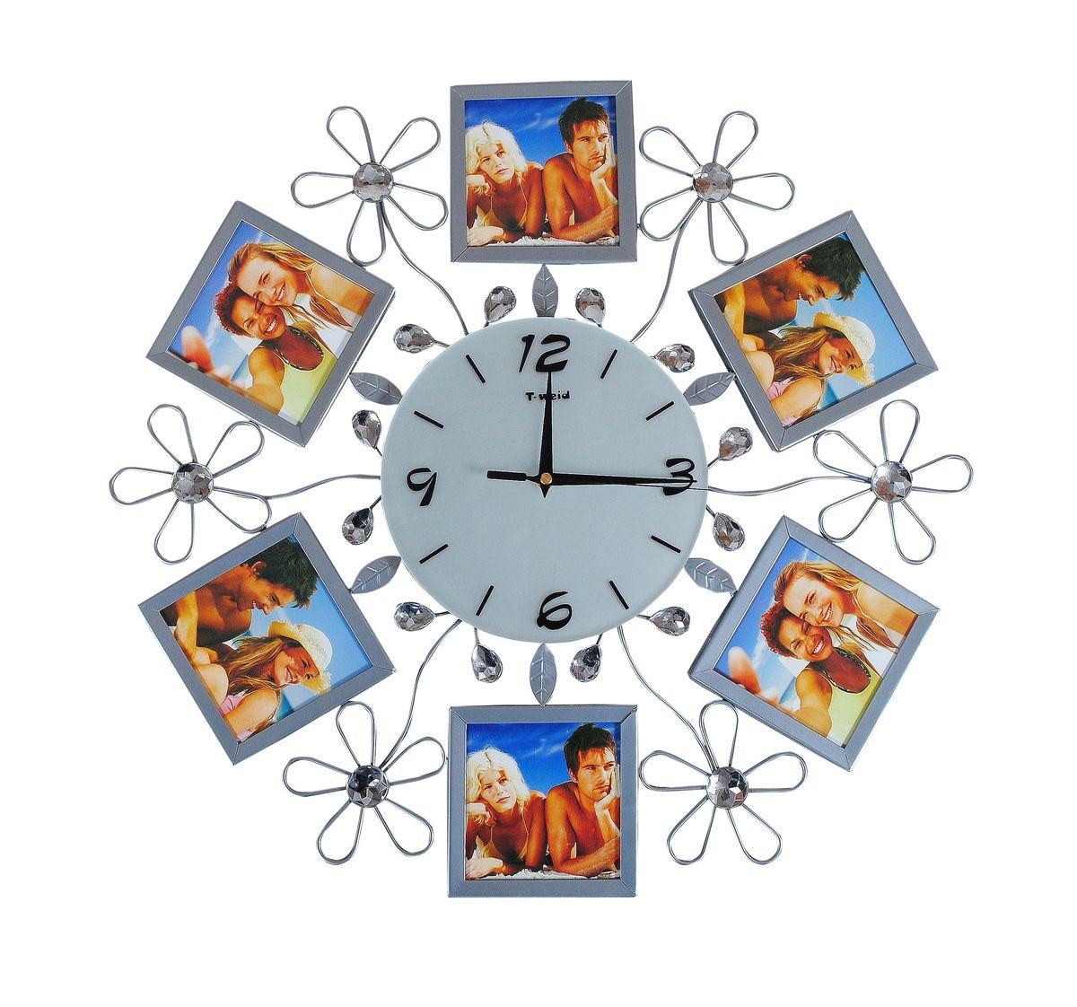 Часы настенные T-Weid, с фоторамками, цвет: серебристый, 50 х 50 х 5 смM 2051 BНастенные кварцевые часы T-Weid с фоторамками - это прекрасный предмет декора, а также универсальный подарок практически по любому поводу. Циферблат часов оснащен тремя фигурными стрелками: часовой, минутной и секундной. Циферблат выполнен из матового, прочного стекла. Корпус часов украшен стразами. На задней стенке часов расположена металлическая петелька для подвешивания и блок с часовым механизмом. Часы прекрасно впишутся в любой интерьер. Тип механизма: плавающий, бесшумный. Рекомендуется докупить батарейку типа АА (не входит в комплект). Для 6 фото 11 х 11 см.