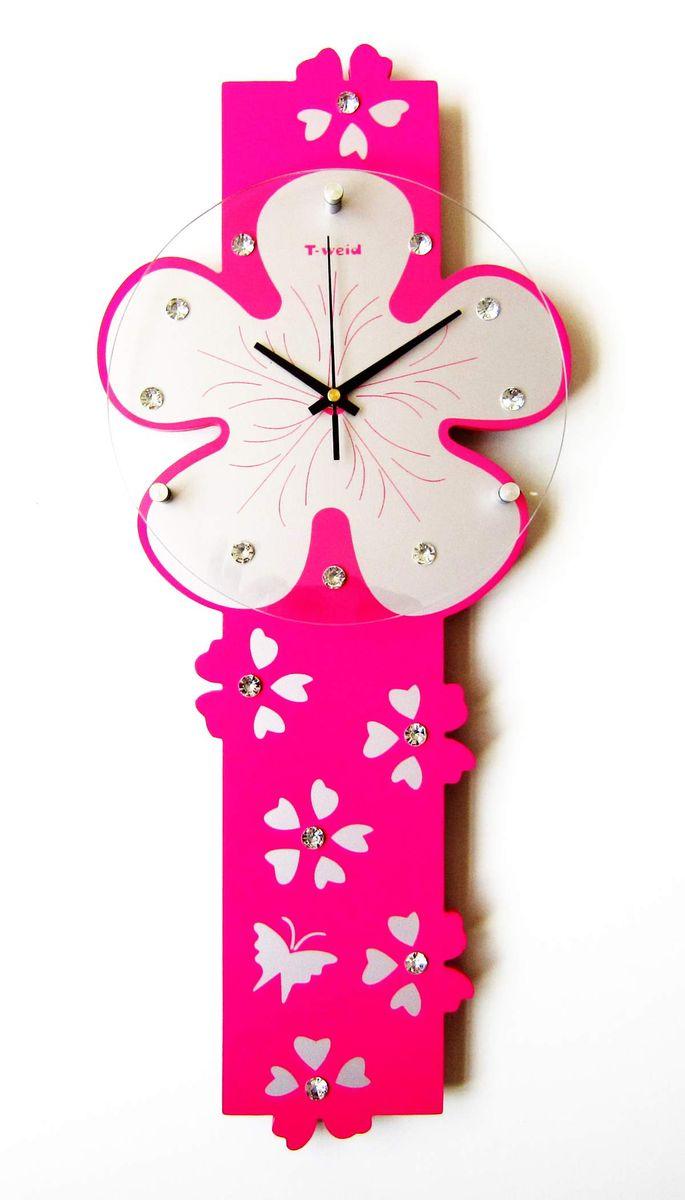 Часы настенные T-Weid, цвет: розовый, 25 х 59 х 5 см часы настенные t weid с фоторамками цвет белый 35 х 60 х 5 см
