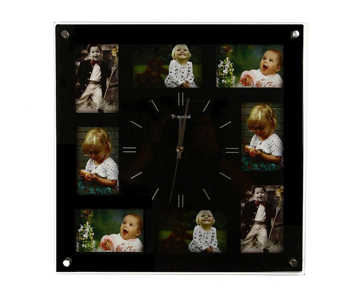 Часы настенные T-Weid, с фоторамками, цвет: черный, 40 х 40 х 5 смМ 9012 А BlackНастенные кварцевые часы с фоторамками - это прекрасный предмет декора, а также универсальный подарок практически по любому поводу. Корпус часов, выполнен из дерева с черным матовым покрытием и оформлен восемью фоторамками.Циферблат часов оснащен тремя фигурными стрелками: часовой, минутной и секундной. Цифры и метки нанесены черной краской на серебристом фоне на внутренней стороне стекла. Циферблат и стрелки защищены прочным стеклом, который крепится четырьмя металлическими крепежами к корпусу. На задней стенке часов расположена металлическая петелька для подвешивания и блок с часовым механизмом. Часы с фоторамками прекрасно впишутся в любой интерьер. В зависимости оттого, что вы поместите в рамки, будет меняться и стиль часов. Тип механизма: плавающий, бесшумный. Рекомендуется докупить батарейку типа АА (не входит в комплект). Для 8 фото 9 х 12 см.
