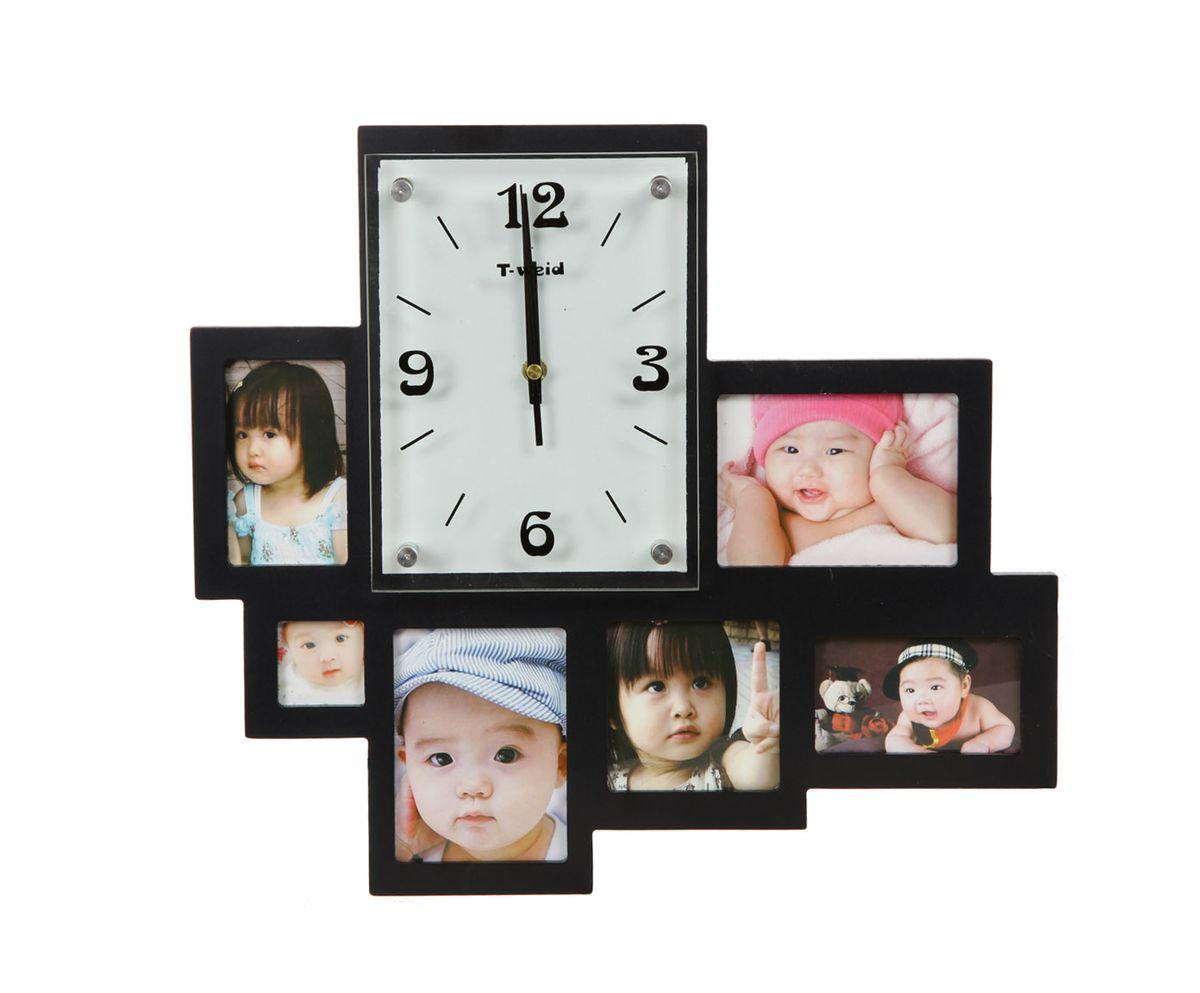 Часы настенные T-Weid, с фоторамками, цвет: черный, 36 х 40 х 5 смM 2014 A BlackНастенные кварцевые часы с фоторамками - это прекрасный предмет декора, а также универсальный подарок практически по любому поводу. Корпус часов, выполнен из дерева с черным матовым покрытием и оформлен шестью фоторамками. Циферблат часов оснащен тремя фигурными стрелками: часовой, минутной и секундной. Цифры и метки нанесены черной краской на серебристом фоне на внутренней стороне стекла. Циферблат и стрелки защищены прочным стеклом, который крепится четырьмя металлическими крепежами к корпусу. На задней стенке часов расположена металлическая петелька для подвешивания и блок с часовым механизмом. Часы с фоторамками прекрасно впишутся в любой интерьер. В зависимости оттого, что вы поместите в рамки, будет меняться и стиль часов. Тип механизма: плавающий, бесшумный. Рекомендуется докупить батарейку типа АА (не входит в комплект). Для 6 фото: 2 фото 9 х 12 см; 4 х 4 см, 2 фото 10 х 6 см, 9 х 9 см.