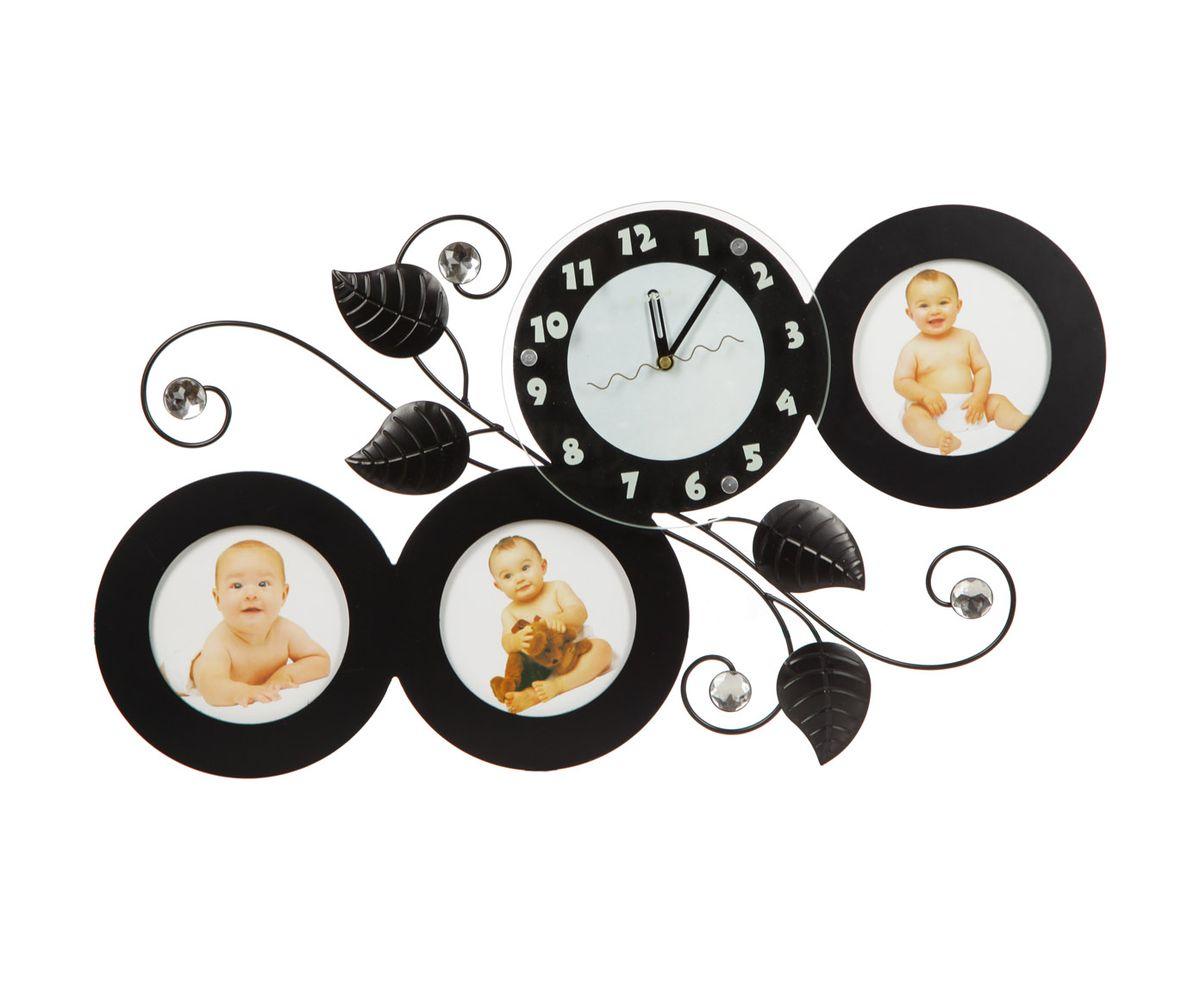Часы настенные T-Weid, с фоторамками, цвет: черный, 35 х 63 х 5 см часы настенные t weid с фоторамками цвет белый 35 х 60 х 5 см