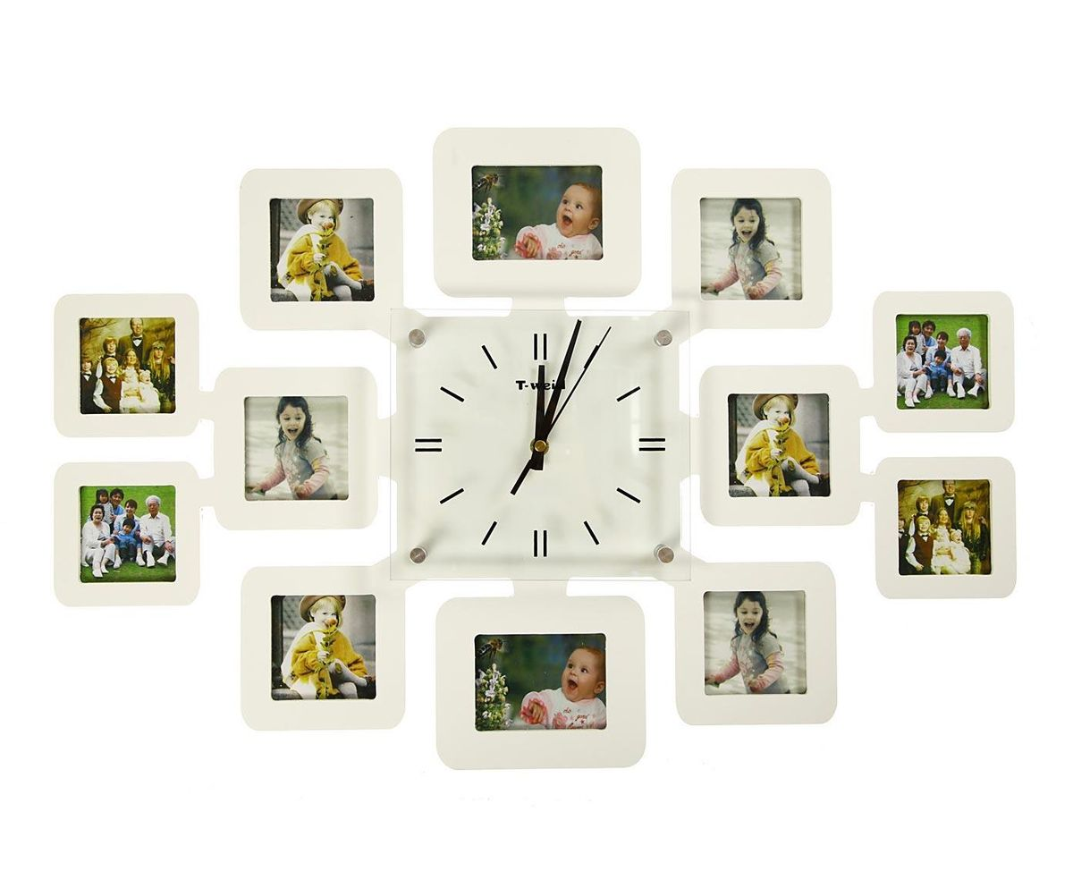 Часы настенные T-Weid, с фоторамками, цвет: белый, 40 х 60 х 5 смM 2074 B WhiteНастенные кварцевые часы T-Weid с фоторамками - это прекрасный предмет декора, а также универсальный подарок практически по любому поводу. Корпус часов, выполнен из дерева с белым матовым покрытием и оформлен двенадцатью фоторамками. Циферблат часов оснащен тремя фигурными стрелками: часовой, минутной и секундной. Цифры и метки нанесены черной краской на серебристом фоне на внутренней стороне стекла. Циферблат и стрелки защищены прочным стеклом, который крепится четырьмя металлическими крепежами к корпусу. На задней стенке часов расположена металлическая петелька для подвешивания и блок с часовым механизмом. Часы с фоторамками прекрасно впишутся в любой интерьер. В зависимости оттого, что вы поместите в рамки, будет меняться и стиль часов. Тип механизма: плавающий, бесшумный. Рекомендуется докупить батарейку типа АА (не входит в комплект). Для 10 фото 7 х 7 см и 2 фото 7 х 9 см.