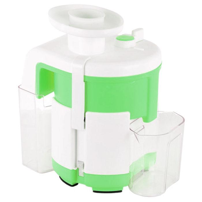Журавинка СВСП 303, Green White соковыжималкаСК СВСП 303Соковыжималка Журавинка СВСП 303 может легко и быстро переработать значительное количество овощей ифруктов с минимальными усилиями.Модель отжимает сок буквально до последней капли, так как жмых, полученный на выходе практически сухой. Этодостигается благодаря применению ручного способа выброса жмыха в представленной модели. Конструкциярассматриваемого аппарата предусматривает непрерывную работу в течении около одного часа. При этомпроизводитель гарантирует высокую надежность модели и отменную отказоустойчивость.Производительность соковыжималки составляет около 700 грамм в минуту. При работе устройство практическине греется ввиду незначительного потребления электроэнергии от источника электропитания.Чистота сока: 92%