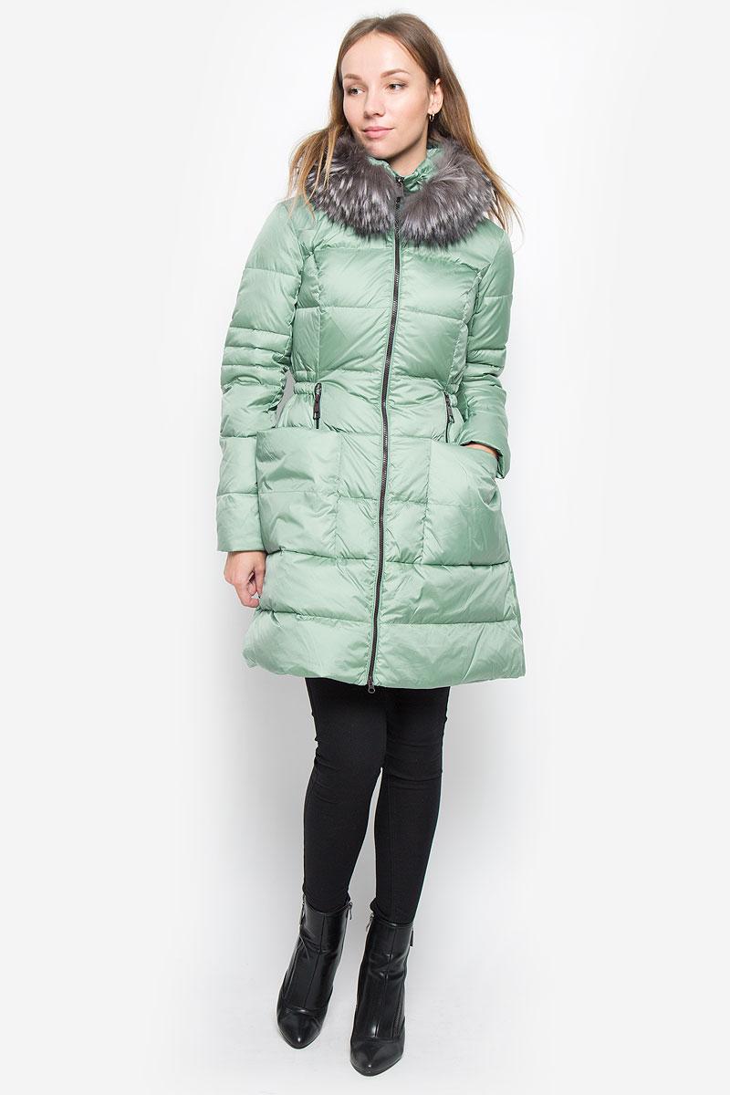 Пуховик женский Baon Liasan Utiasheva, цвет: зеленый. B006531. Размер XL (50) кардиган женский baon цвет черный b147505 black размер xl 50