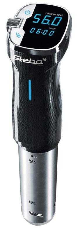 Steba SV 50 су-видSV 50Аппарат для готовки по технологии су-вид Steba SV 50 с корпусом из нержавеющей стали оборудован профессиональной системой циркуляции воды, служащей для очень точного регулирования температуры. Точность измерения температуры регулируется с шагом 0,5°Cдо 90°C. Аппарат имеет простое управление с сенсорным дисплеем, функцию быстрого нагрева воды. Поверхности Steba SV 50 легко чистятся.