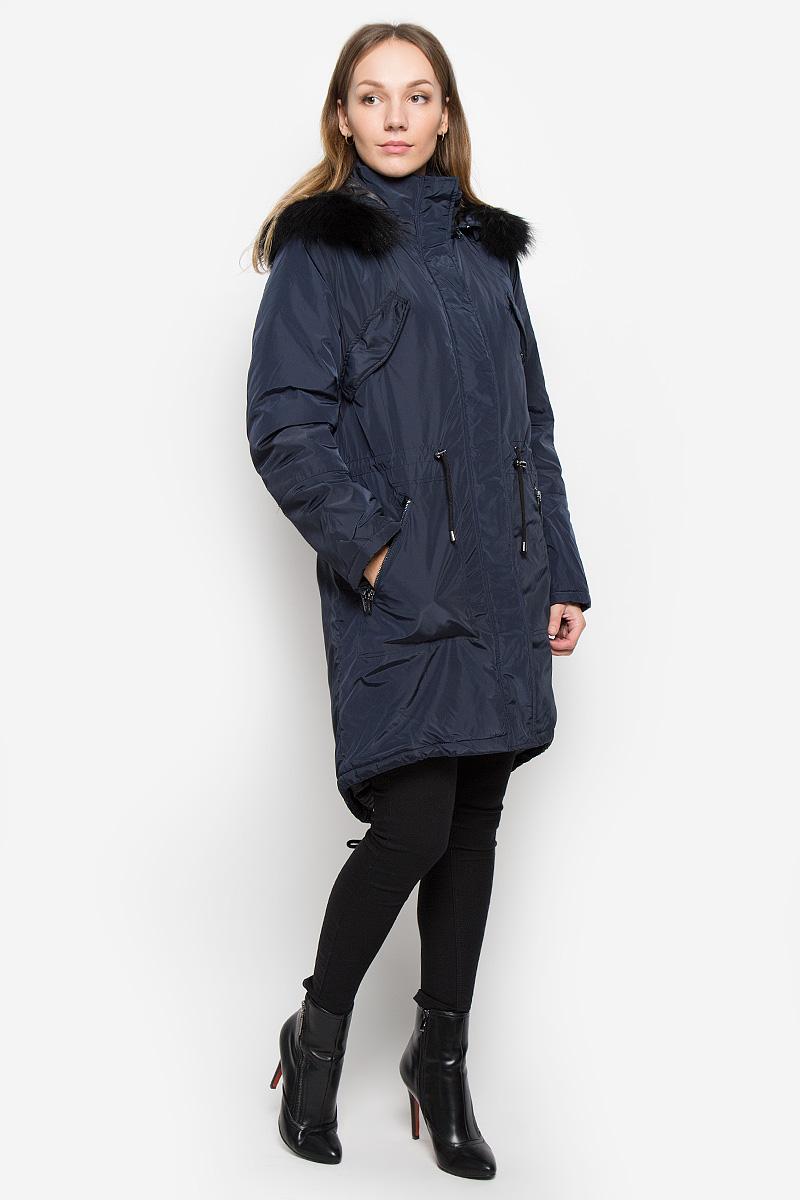 Пальто женское Baon, цвет: темно-синий. B036533. Размер L (48)B036533_DARK NAVYЖенское пальто Baon с длинными рукавами, воротником-стойкой и съемным капюшоном на молнии выполнена из прочного полиэстера. Наполнитель - натуральный пух. Капюшон украшен съемным натуральным мехом на пуговицах.Пальто застегивается на застежку-молнию спереди и имеет ветрозащитный клапан на кнопках. Изделие дополнено двумя втачными карманами на молниях спереди и двумя втачными нагрудными карманами с клапанами на кнопках, манжеты рукавов оснащены застежками-молниями. Объем талии регулируется при помощи шнурка-кулиски со стопперами.