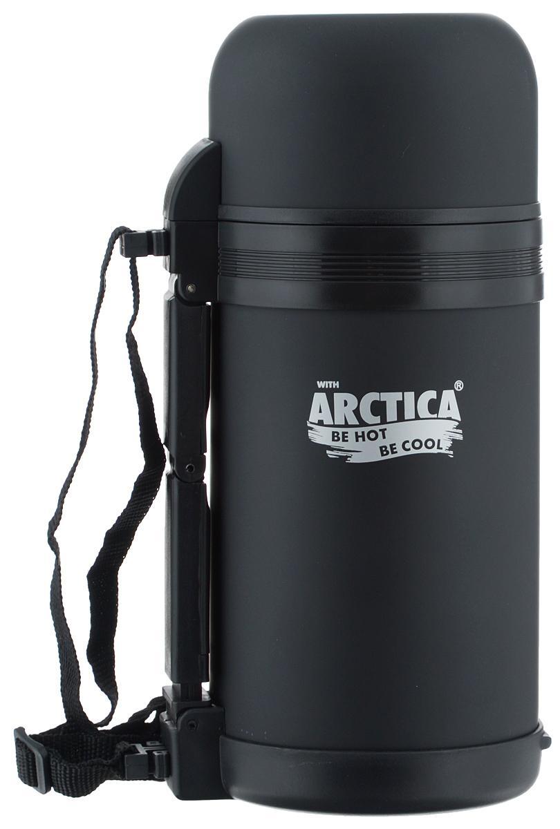 Термос Арктика, с чашей, цвет: черный, 1 л203-1000_черныйТермос Арктика сохранит вашу еду или напитки горячими в течение долгого времени. Изделие выполнено из высококачественной нержавеющей стали с элементами из пластика. Термос оснащен крышкой, которую можно использовать в качестве чаши или миски, так же есть дополнительная чаша и ремешок на плечо для удобной переноски.Пробка термоса состоит из двух составных частей: узкая внутренняя пробка пригодится для напитков, а более широкую внешнюю часть можно снять, чтобы удобнее было доставать из термоса еду. Забудьте об этих неудобствах - вместительный и компактный термос Арктика с радостью послужит вам в качестве миниатюрной полевой кухни, поднимет настроение нарядным внешним видом и вкусной домашней едой.Не рекомендуется мыть в посудомоечной машине.Время сохранения температуры (холодной и горячей): 20 часов.Диаметр широкого горлышка (по верхнему краю): 7,5 см.Диаметр клапана: 6,5 см.Диаметр крышки (по верхнему краю): 10,5 см.Высота крышки: 6,5 см.Диаметр пластиковой чаши (по верхнему краю): 9,5 см. Высота пластиковой чаши: 4 см.Высота (с учетом крышки): 24,5 см.