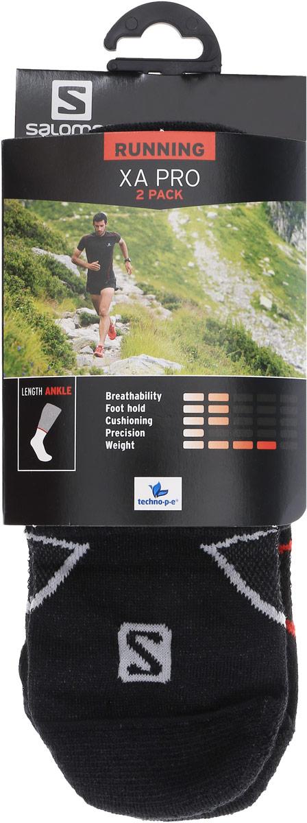 Носки Salomon Xa Pro 2 Pack, цвет: черный, 2 пары. L35156400. Размер XL (45/47)L35156400Носки Salomon Xa Pro 2 Pack изготовлены из высококачественного полиэстера с добавлением полиамида и эластана. Особенности особая конструкция Sensifit, эластичная поддержка свода стопы и сетчатая вставка для вентиляции делают носки незаменимыми для спортсменов. Резинка особой формы надежно фиксирует носки на ноге.В комплект входят 2 пары носков