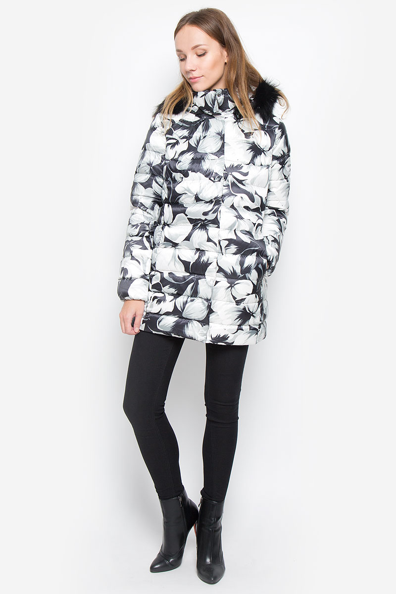 Пуховик женский Baon, цвет: черный, белый, серый. B026509. Размер L (48) куртка утепленная baon baon ba007emwbf47