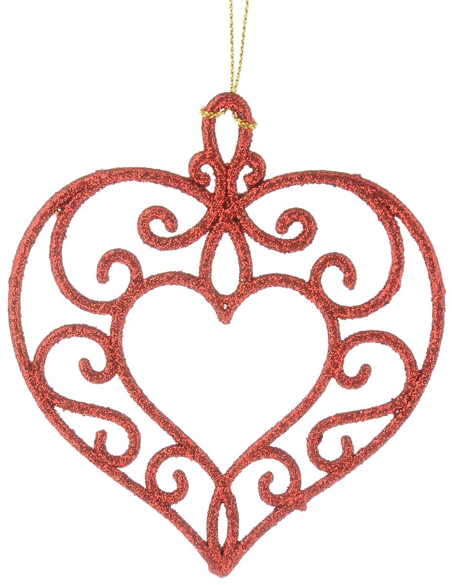 Украшение новогоднее подвесное Magic Time Сердце, цвет: красный, 10,5 х 9,5 см. 3874138741Новогоднее украшение Magic Time Сердце, изготовленное из высококачественного пластика, прекрасно подойдет для декорации вашего дома и новогодней ели. Оригинальное новогоднее украшение выполнено в виде изящной фигурки с блестками и оснащено текстильной петелькой, с помощью которой его можно повесить или прикрепить в любом понравившемся вам месте. Елочная игрушка - символ Нового года. Она несет в себе волшебство и красоту праздника. Создайте в своем доме атмосферу веселья и радости, украшая всей семьей новогоднюю елку нарядными игрушками, которые будут из года в год накапливать теплоту воспоминаний.