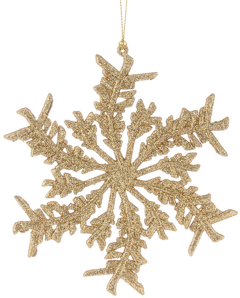 Украшение новогоднее подвесное Magic Time Снежинка, цвет: золотистый, 13,5 х 14 см38714/75086Новогоднее подвесное украшение Magic Time Снежинка выполнено из пластика в виде снежинки и украшено глиттером. С помощью специальной петельки украшение можно повесить в любом понравившемся вам месте. Но, конечно, удачнее всего оно будет смотреться на праздничной елке.Елочная игрушка - символ Нового года. Она несет в себе волшебство и красоту праздника. Создайте в своем доме атмосферу веселья и радости, украшая новогоднюю елку нарядными игрушками, которые будут из года в год накапливать теплоту воспоминаний.