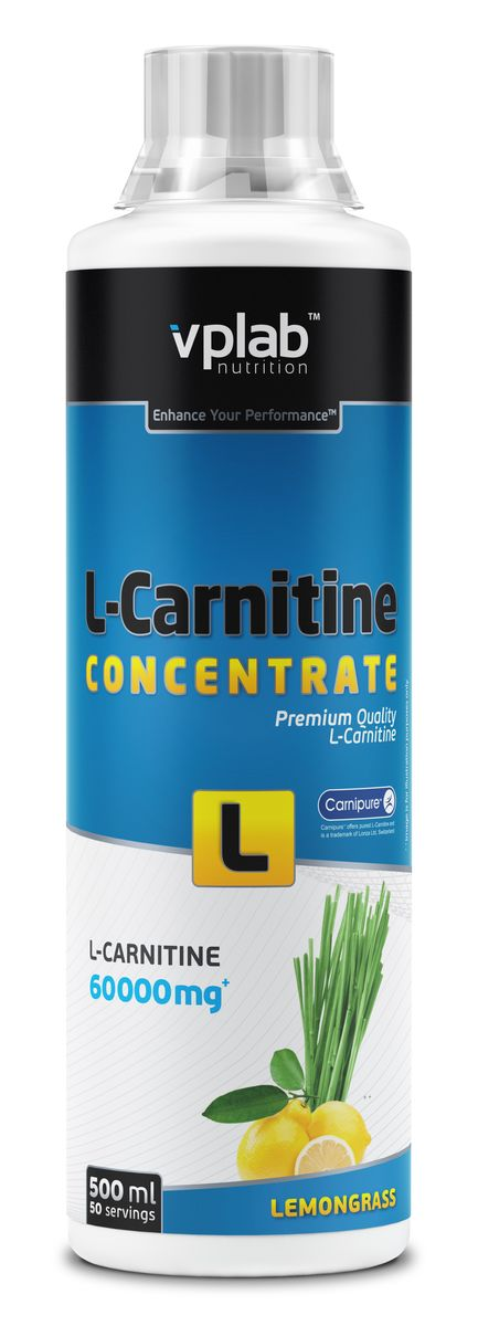 Карнитин Vplab L-Carnitine Concentrate, концентрат, лимон, 500 мл l карнитин weider апельсин 500 мл