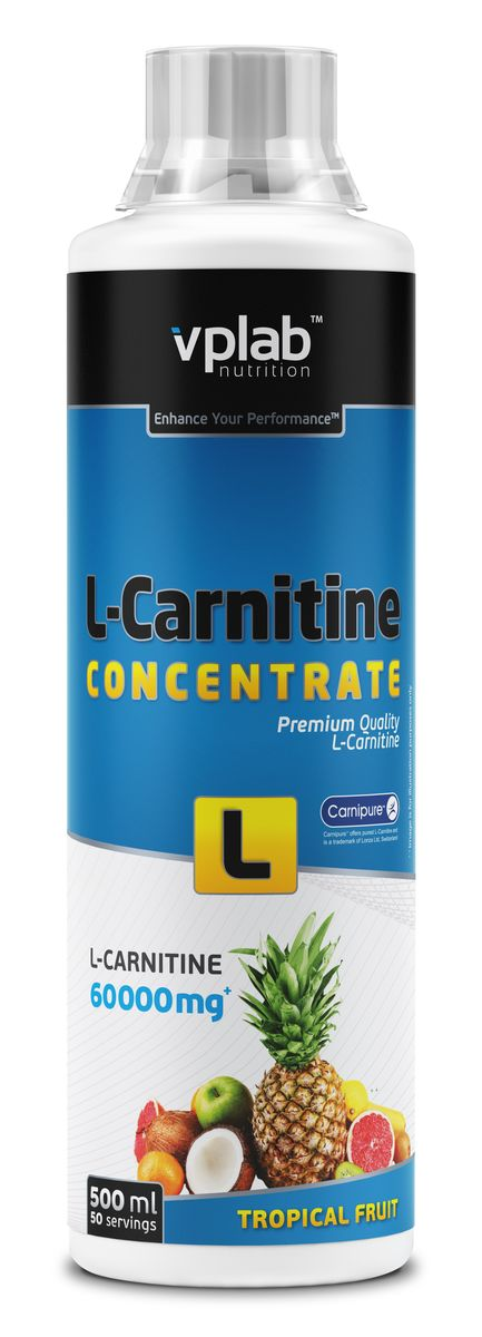 Карнитин Vplab L-Carnitine Concentrate, концентрат, тропические фрукты, 500 мл жиросжигатели mychoice nutrition жиросжигатель my fitness l carnitine 2700 shot лимон лайм 540 мл