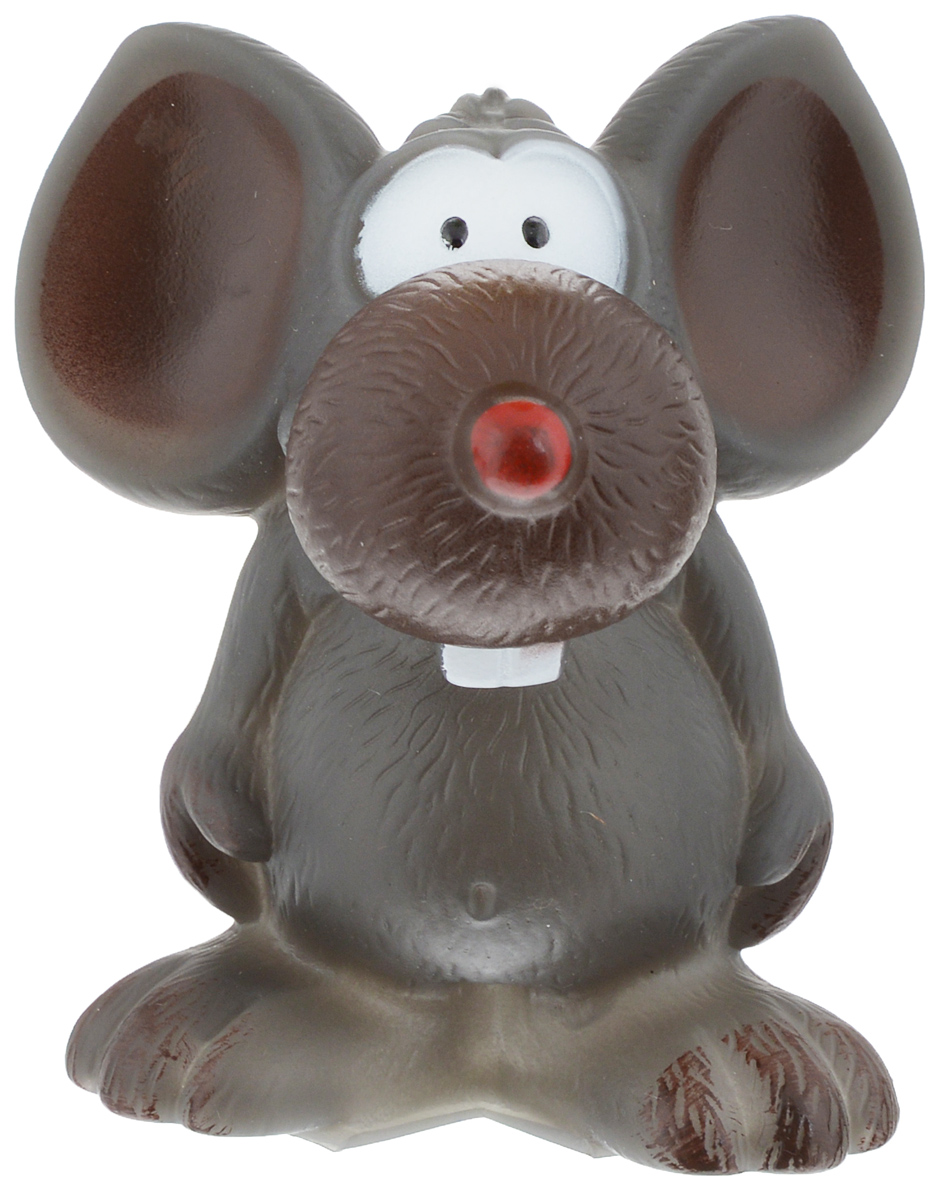 Игрушка для животных Каскад Мышь забавная, с пищалкой, высота 10 см игрушка для кошек каскад мышь на пружине цвет серый длина 9 см