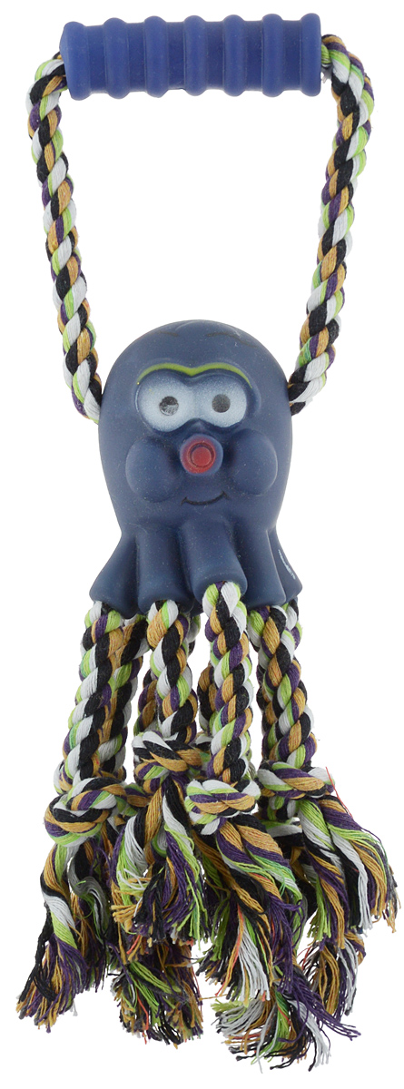 Игрушка для собак Каскад Канат. Осьминог, с пищалкой, длина 30 см игрушка для животных каскад удочка с пауком и перьями длина 58 5 см
