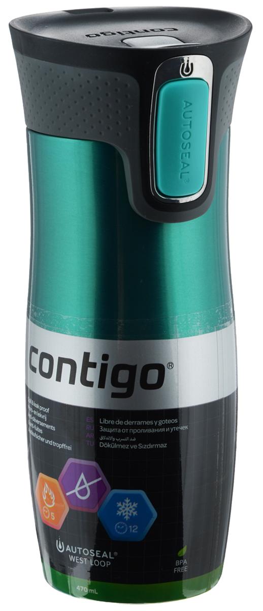 Термокружка Contigo West Loop, цвет: зеленый, черный, серый, 470 млcontigo0356Термокружка Contigo West Loop, изготовленная из высококачественной нержавеющей стали и пищевого пластика, подходит как для холодных, так и для горячих напитков. Изделие оснащено крышкой с открывающимся клапаном, который предохранит от проливания. Диаметр (по верхнему краю): 6,5 см. Высота кружки (с учетом крышки): 20 см.