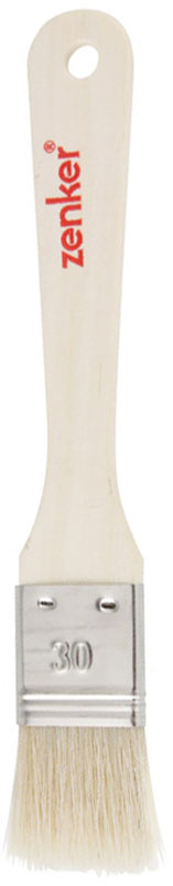 """Кулинарная кисть """"Zenker"""" выполнена из натуральной щетины. Удобная деревянная ручка оснащена небольшим отверстием, за которое кисть можно подвесить в любом удобном для вас месте. С помощью кулинарной кисти вы без труда сможете смазать выпечку яйцом или глазурью, смазать сковородку маслом при выпечке блинов и оладий.  Практичная и удобная кисть """"Zenker"""" займет достойное место среди аксессуаров на вашей кухне. Длина щетины: 3,3 см."""