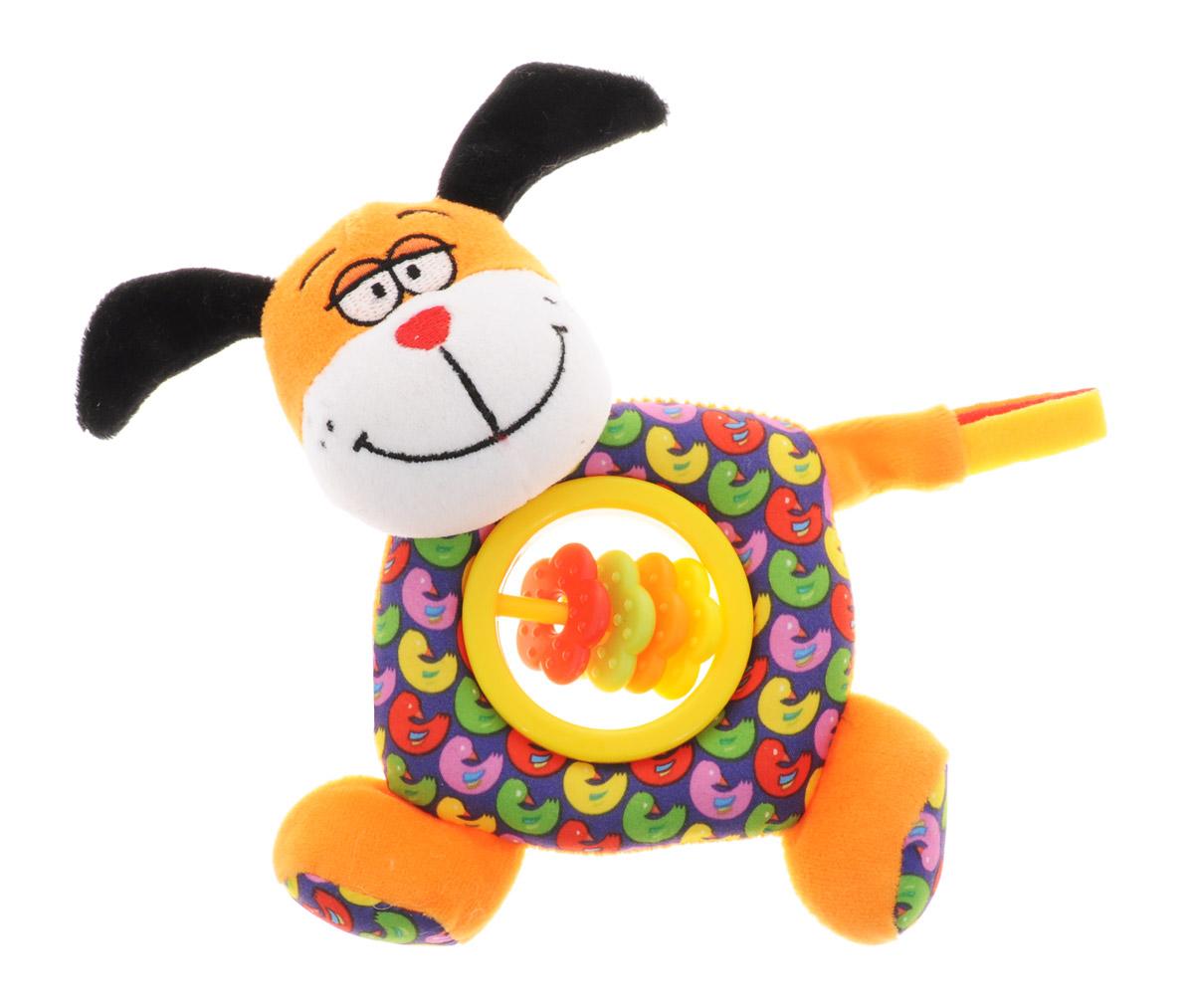 Bondibon Мягкая игрушка-погремушка Собака-пищалка цвет оранжевый синий мягкая игрушка собака бассет хаунт