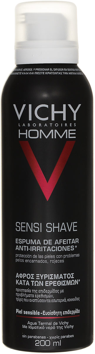 Vichy Пена для бритья для чувствительной кожи Vichy Homme , склонной к покраснению, 200 мл vichy пена против раздражения кожи для бритья homme 200 мл