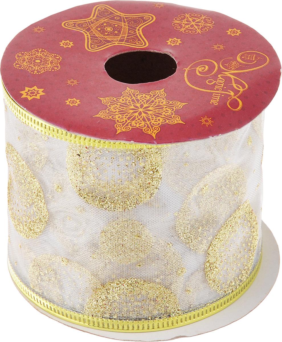 Лента новогодняя Magic Time Золотые круги, 6,3 см х 2,7 м42804Новогодняя декоративная лента Magic Time Золотые круги на картонной катушке выполнена из ткани и украшена блестками. Лента украсит интерьер вашего дома или офиса в преддверии Нового года. Оригинальный дизайн и красочность исполнения создадут праздничное настроение.Новогодние украшения всегда несут в себе волшебство и красоту праздника. Создайте в своем доме атмосферу тепла, веселья и радости, украшая его всей семьей.Длина ленты: 270 см.Ширина ленты: 6,3 см.