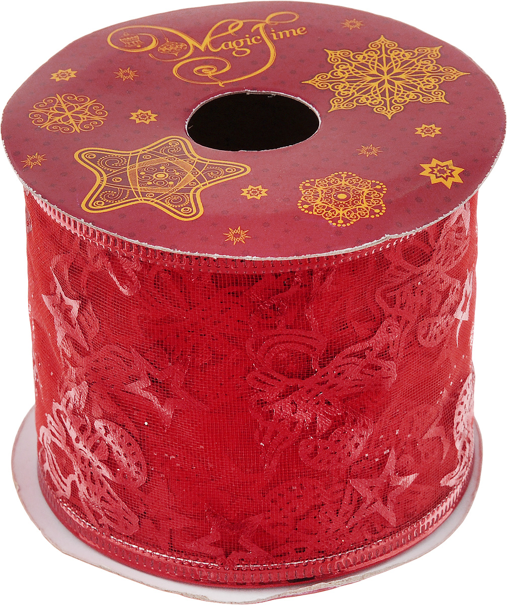 Лента новогодняя Magic Time Красные звезды, 6,3 см х 2,7 м42815/76230Новогодняя декоративная лента Magic Time Красные звезды на картонной катушке выполнена из ткани и украшена блестками. Лента украсит интерьер вашего дома или офиса в преддверии Нового года. Оригинальный дизайн и красочность исполнения создадут праздничное настроение.Новогодние украшения всегда несут в себе волшебство и красоту праздника. Создайте в своем доме атмосферу тепла, веселья и радости, украшая его всей семьей.Длина ленты: 270 см.Ширина ленты: 6,3 см.