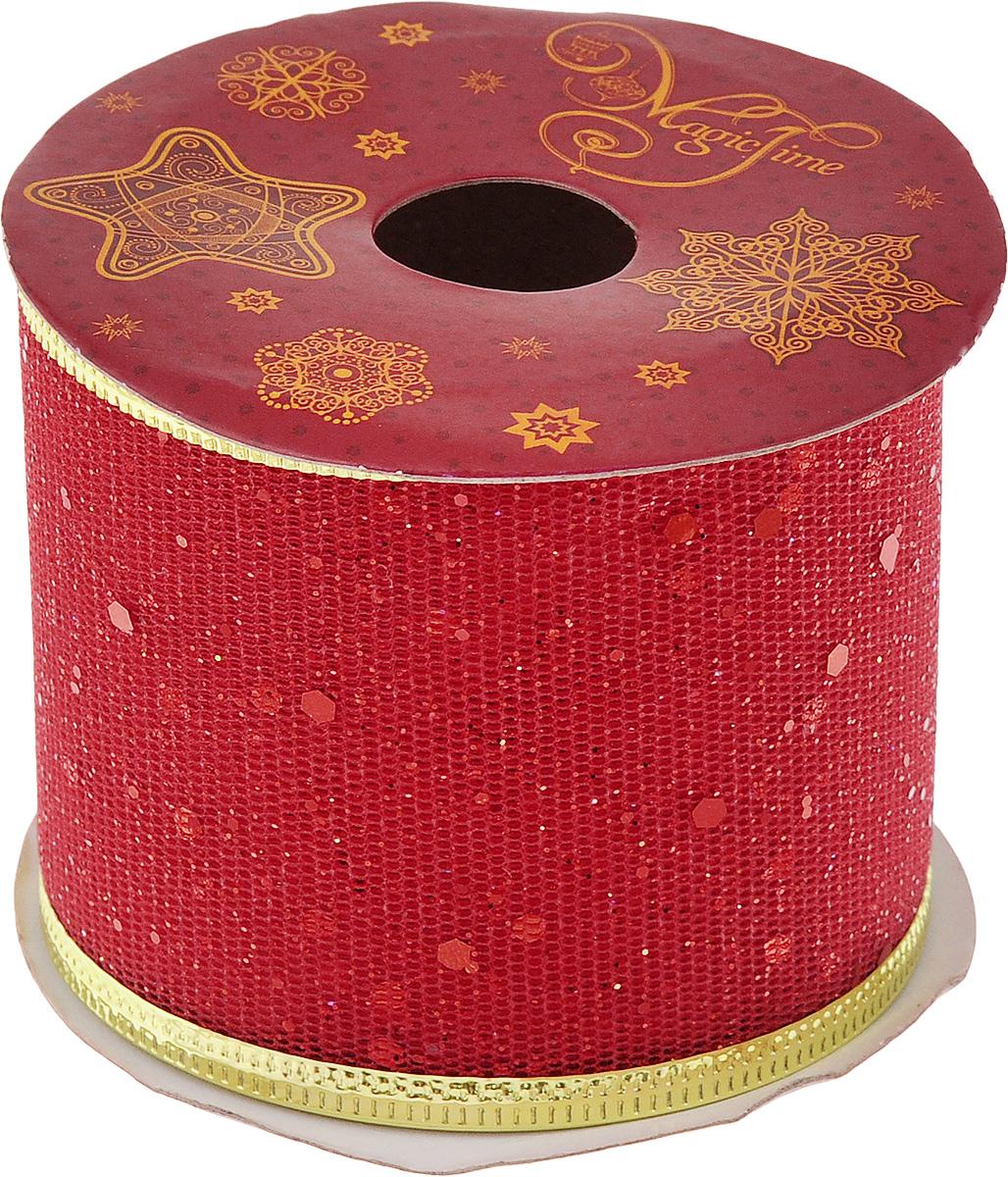Лента новогодняя Magic Time Конфетти, цвет: красный, золотистый, 6,3 см х 2,7 м42802Декоративная лента Magic Time Конфетти выполнена из полиэстера. В края ленты вставлена проволока, благодаря чему ее легко фиксировать. Она предназначена для оформления подарочных коробок, пакетов. Кроме того, декоративная лента с успехом применяется для художественного оформления витрин, праздничного оформления помещений, изготовления искусственных цветов. Декоративная лента украсит интерьер вашего дома к праздникам.Ширина ленты: 6,3 см.