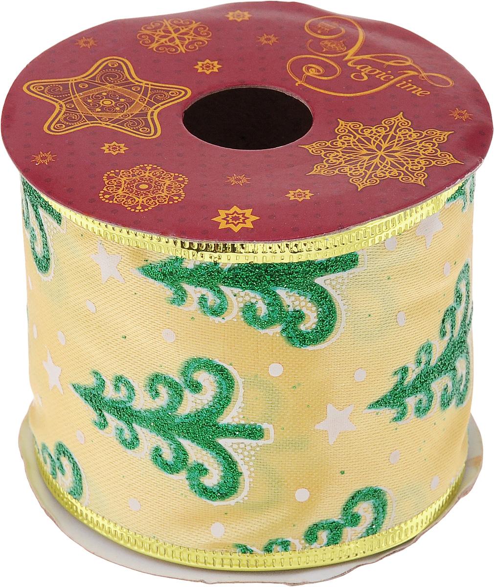 Лента новогодняя Magic Time Новогодние ели, 6,3 см х 2,7 м42820Декоративная лента Magic Time Новогодние ели выполненаиз полиэстера. Вкрая ленты вставлена проволока, благодаря чему еелегко фиксировать. Она предназначена для оформления подарочных коробок,пакетов. Кроме того, декоративная лента с успехом применяется дляхудожественного оформления витрин, праздничногооформления помещений, изготовления искусственных цветов.Декоративная лента украсит интерьер вашего дома к праздникам.Ширина ленты: 6,3 см.