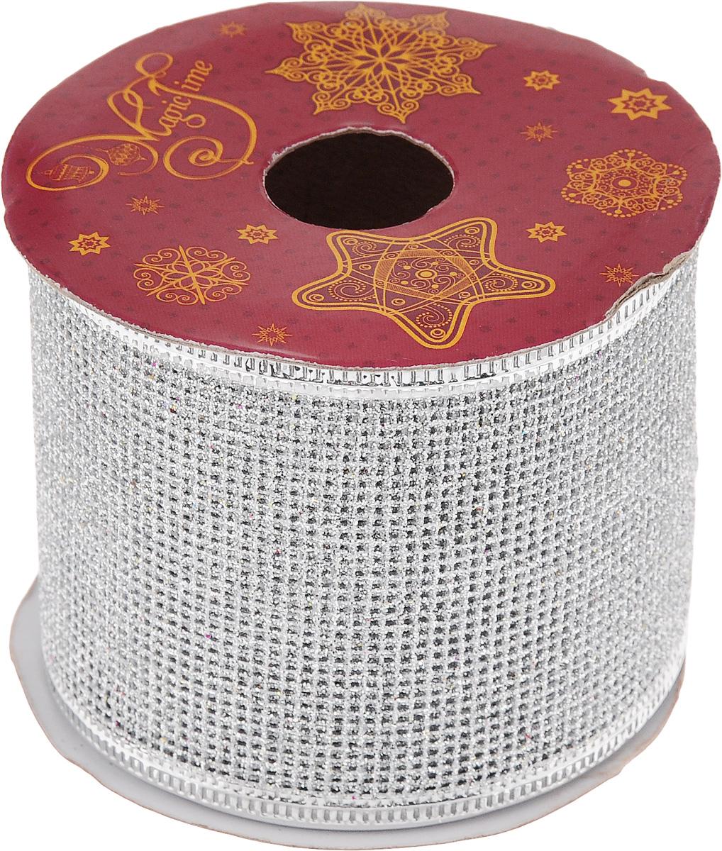 Лента новогодняя Magic Time Сетка, цвет: серебристый, 6,3 см х 2,7 м42812Декоративная лента Magic Time Сетка выполнена из полиэстера. В края ленты вставлена проволока, благодаря чему ее легко фиксировать. Она предназначена для оформления подарочных коробок, пакетов. Кроме того, декоративная лента с успехом применяется для художественного оформления витрин, праздничного оформления помещений, изготовления искусственных цветов. Декоративная лента украсит интерьер вашего дома к праздникам.Ширина ленты: 6,3 см.