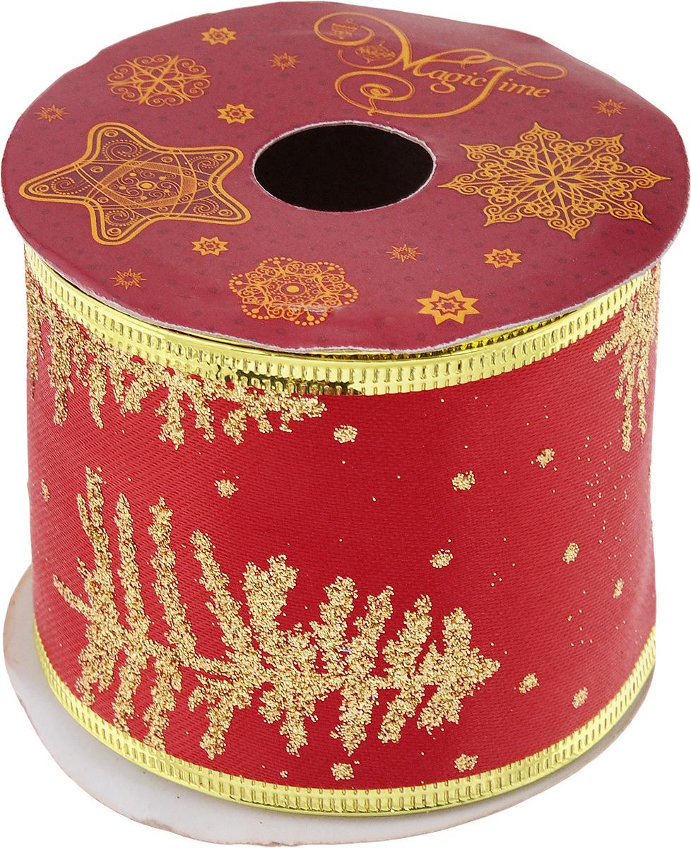 Лента новогодняя Magic Time Золотые снежинки, 6,3 см х 2,7 м42806/76226Декоративная лента Magic Time Золотые снежинки выполнена из полиэстера. В края ленты вставлена проволока, благодаря чему ее легко фиксировать. Она предназначена для оформления подарочных коробок, пакетов. Кроме того, декоративная лента с успехом применяется для художественного оформления витрин, праздничного оформления помещений, изготовления искусственных цветов. Декоративная лента украсит интерьер вашего дома к праздникам.Ширина ленты: 6,3 см.