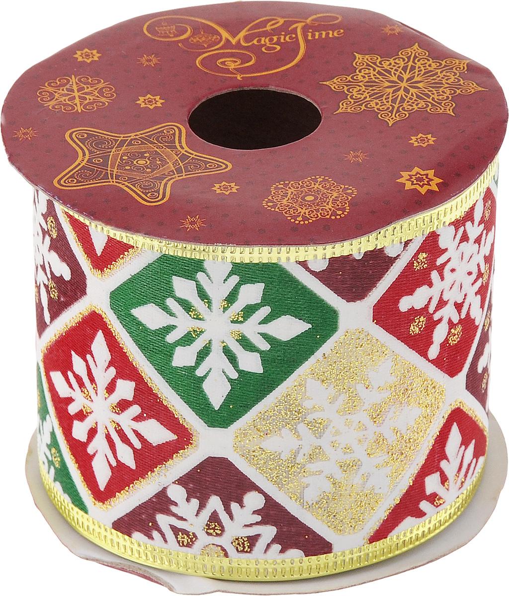 Лента новогодняя Magic Time Новогоднее настроение, 6,3 см х 2,7 м42823Декоративная лента Magic Time Новогоднее настроение выполнена из полиэстера. В края ленты вставлена проволока, благодаря чему ее легко фиксировать. Она предназначена для оформления подарочных коробок, пакетов. Кроме того, декоративная лента с успехом применяется для художественного оформления витрин, праздничного оформления помещений, изготовления искусственных цветов. Декоративная лента украсит интерьер вашего дома к праздникам.Ширина ленты: 6,3 см.