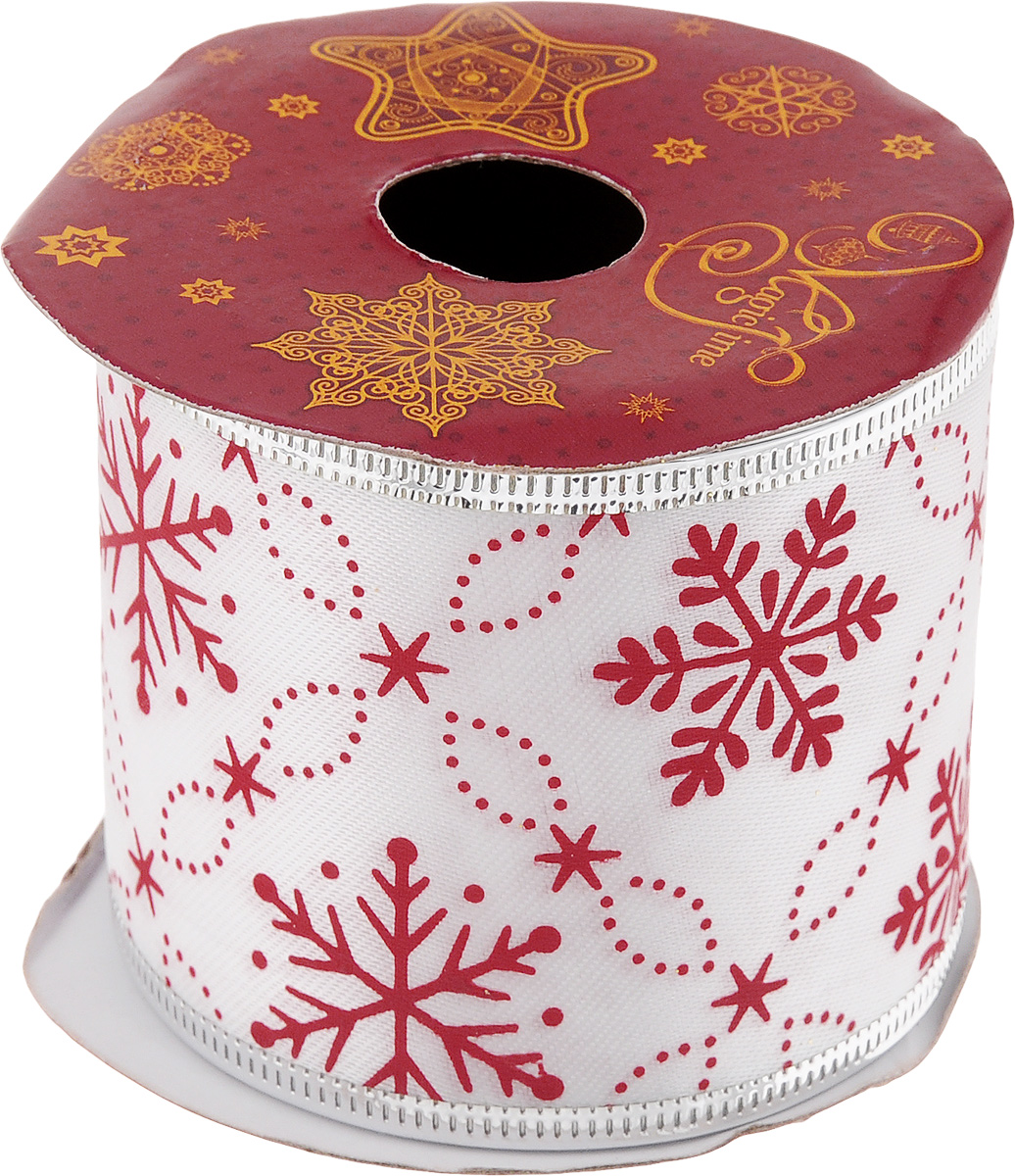 Лента новогодняя Magic Time Красные снежинки, 6,3 см х 2,7 м42819Декоративная лента Magic Time Красные снежинки выполнена из полиэстера. В края ленты вставлена проволока, благодаря чему ее легко фиксировать. Она предназначена для оформления подарочных коробок, пакетов. Кроме того, декоративная лента с успехом применяется для художественного оформления витрин, праздничного оформления помещений, изготовления искусственных цветов. Декоративная лента украсит интерьер вашего дома к праздникам.Ширина ленты: 6,3 см.