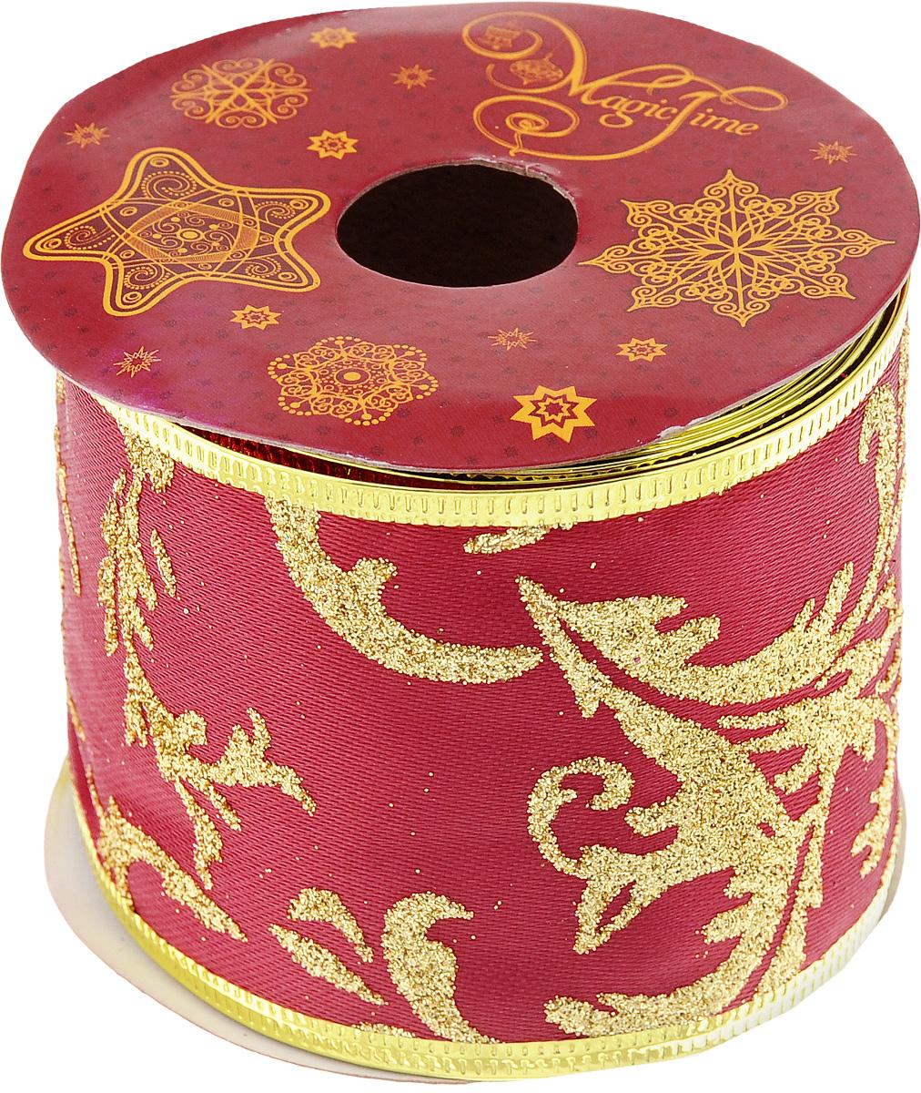 Лента новогодняя Magic Time, 6,3 см х 2,7 м. 4281842818Декоративная лента Magic Time выполненаиз полиэстера. Вкрая ленты вставлена проволока, благодаря чему еелегко фиксировать. Она предназначена для оформления подарочных коробок,пакетов. Кроме того, декоративная лента с успехом применяется дляхудожественного оформления витрин, праздничногооформления помещений, изготовления искусственных цветов.Декоративная лента украсит интерьер вашего дома к праздникам.Ширина ленты: 6,3 см.
