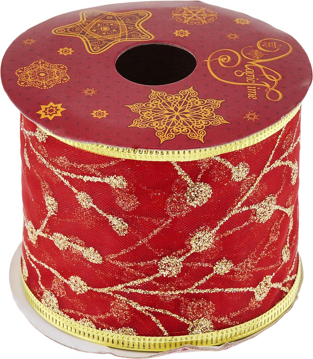 Лента новогодняя Magic Time Золотые ветви, 6,3 см х 2,7 м42803/76224Новогодняя декоративная лента Magic Time Золотые ветви выполнена из полиэстера. В края ленты вставлена проволока, благодаря чему ее легко фиксировать. Лента предназначена для оформления подарочных коробок, пакетов. Кроме того, декоративная лента с успехом применяется для художественного оформления витрин, праздничного оформления помещений, изготовления искусственных цветов. Декоративная лента украсит интерьер вашего дома к праздникам.Ширина ленты: 6,3 см.