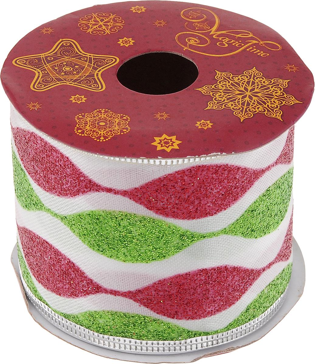 Лента новогодняя Magic Time Праздничная, 6,3 см х 2,7 м42816Новогодняя декоративная лента Magic Time Праздничная выполнена из полиэстера и украшена блестками. В края ленты вставлена проволока, благодаря чему ее легко фиксировать. Она предназначена для оформления подарочных коробок, пакетов. Кроме того, декоративная лента с успехом применяется для художественного оформления витрин, праздничного оформления помещений, изготовления искусственных цветов. Декоративная лента украсит интерьер вашего дома к праздникам.Ширина ленты: 6,3 см.