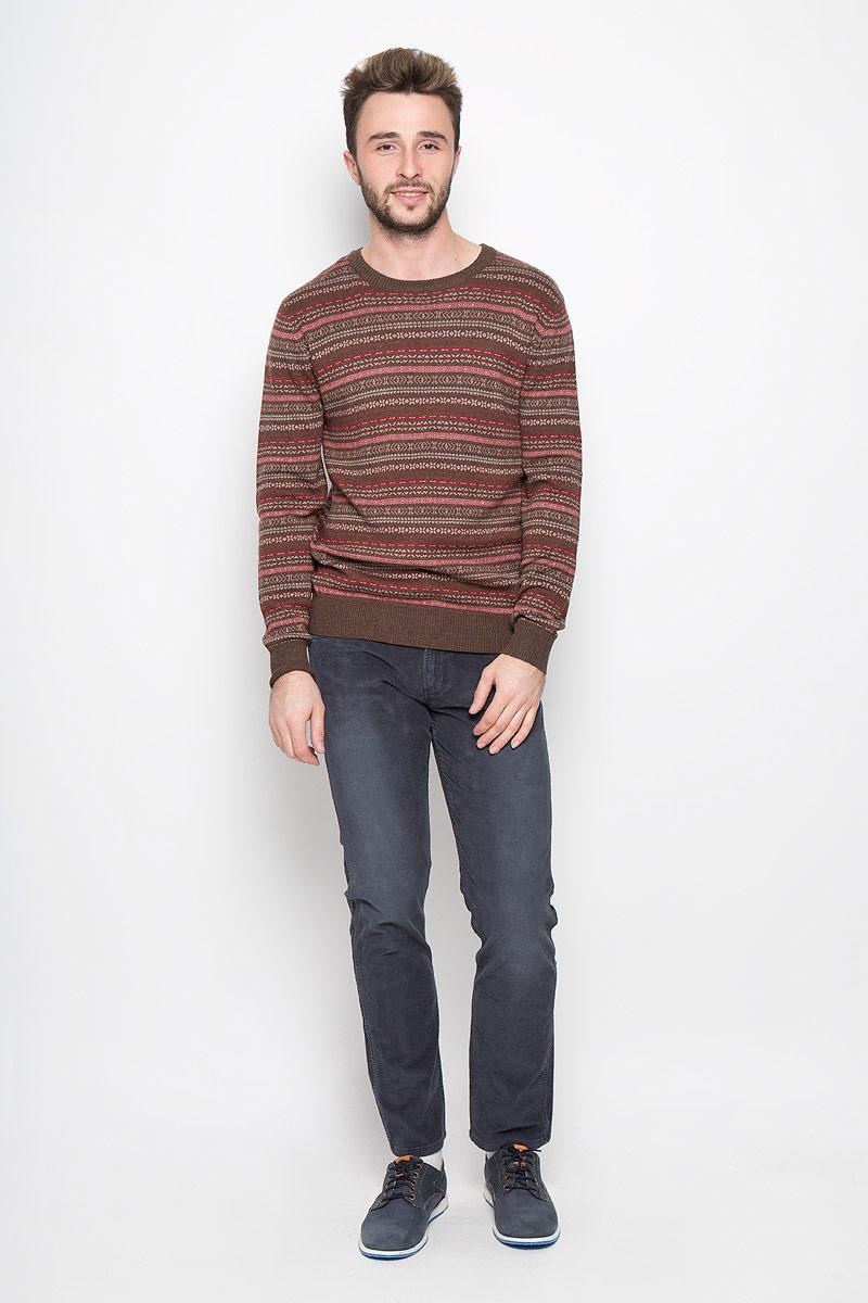 где купить Джемпер мужской Finn Flare, цвет: темно-коричневый. W16-21111_616. Размер M (48) дешево