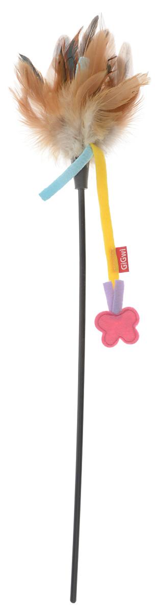 Игрушка для кошек GiGwi Дразнилка с бабочкой, цвет: коричневый, длина 51 см игрушка когтеточка для кошек zoobaloo мышка с бабочкой длина 10 см