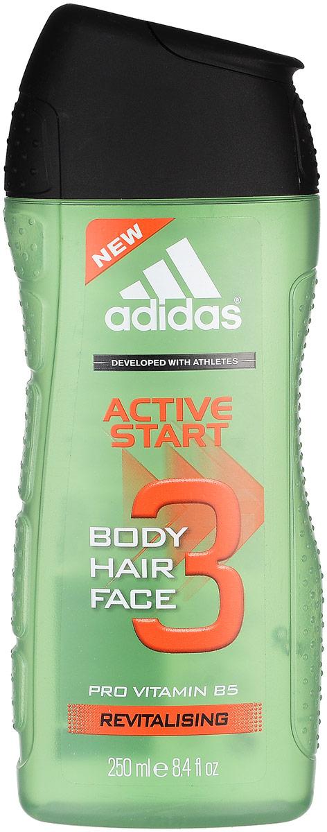Adidas Body-Hair-Face Active Start. Гель для душа. Шампунь и гель для умывания для мужчин, 250 мл adidas гель для душа шампунь и гель для умывания для мужчин ice dive 250 мл